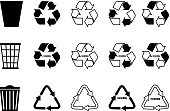 trash can, recycle icon, recycling set,