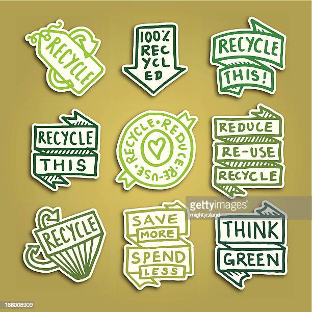 Recycling sticky note badge icons vector icon set