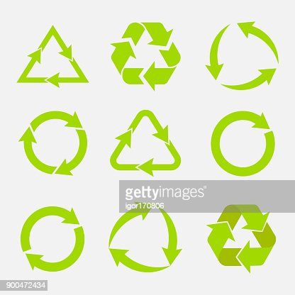 recycling symbol of ecologically pure funds, set of arrows : stock vector