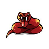 Red aggressive viper, red snake attaking, vector illustration