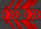 Red and black abstract tech arrows background. Vector technology design