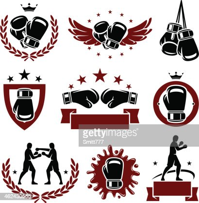 Red and black boxing glove icons and labels : Vector Art