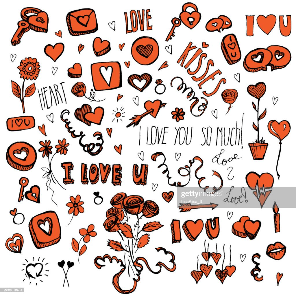 Red and black doodles for Valentine's day : Vector Art
