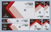 Red and Black Web banners templates, standard sizes with space for photo, modern design