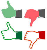 red and green feedback thumbs up and down hands showing approval or disapproval