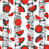 Red and green hand drawn vintage watermelon seamless pattern vector background with distressed stripes. Great for fabric, paper, wallpaper.