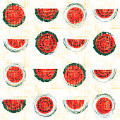 Red and green hand drawn vintage watermelon seamless pattern vector background with watermelon slices arranged in rows with distressed canvas texture. Great for fabric, paper, wallpaper.