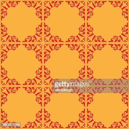 赤とオレンジ色のシームレスなパターン-ベクトル装飾 : ベクトルアート