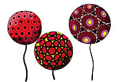 red and pink balloons cartoon flowers