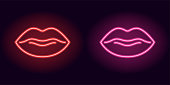 Red and pink neon lips. Vector illustration of neon sexy lips consisting of outlines, with backlight on the dark background