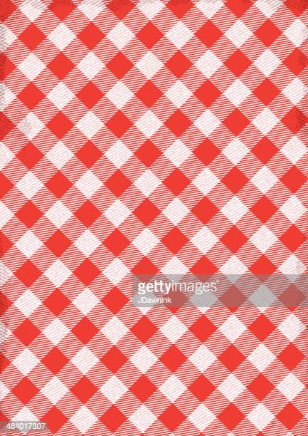 Red and white Checked tablecloth background with texture