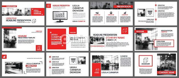 Rote Und Weiße Element Für Folie Infografik über Hintergrund ...