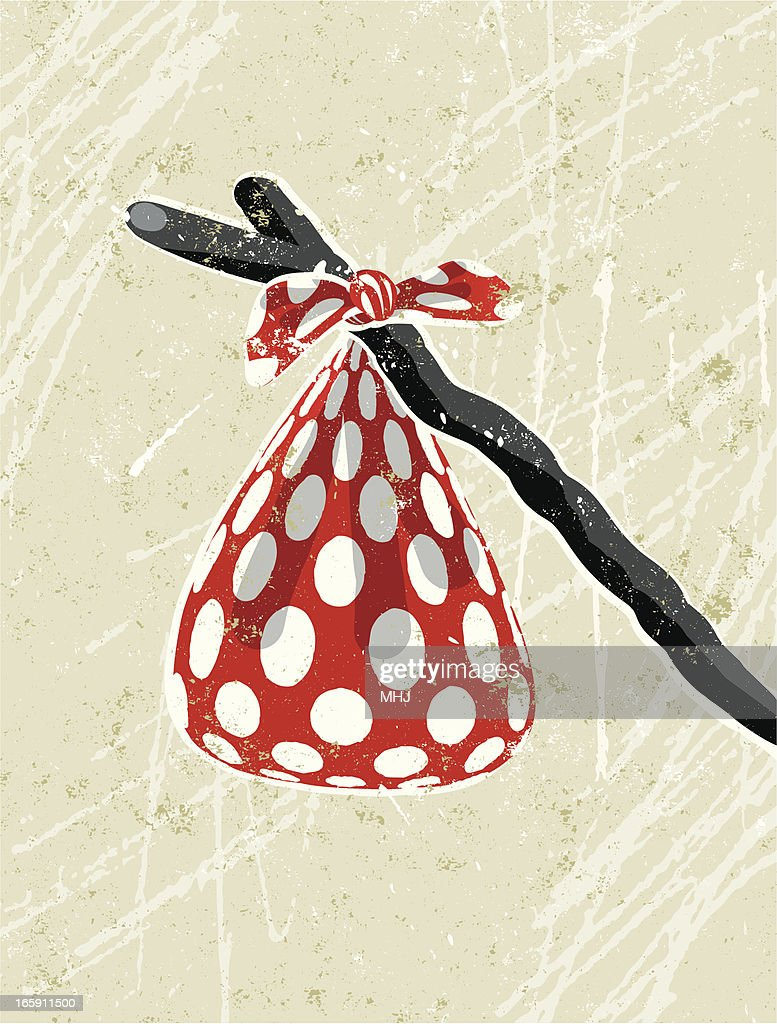 Red and White Spotted Hanky Tied to a Stick : Vector Art
