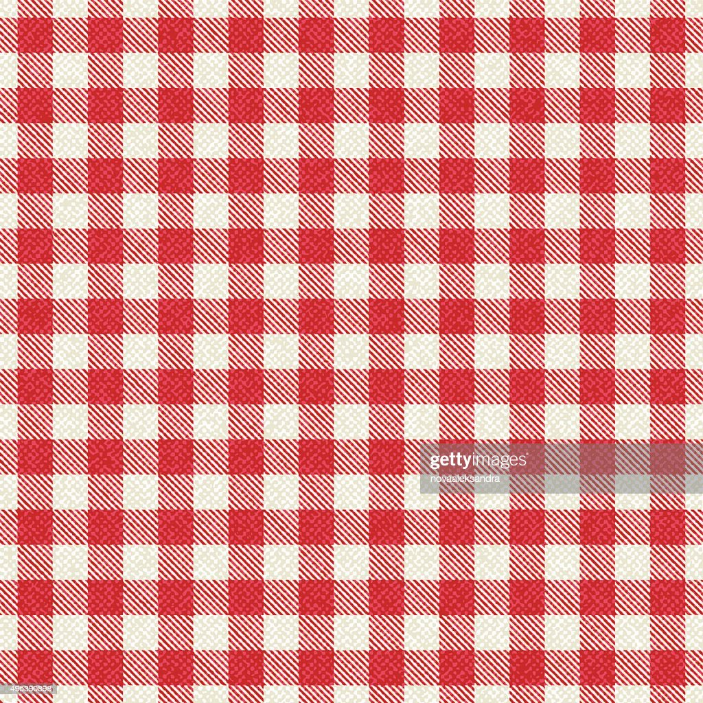 Red And White Textured Plaid Gingham Tablecloth : Vector Art