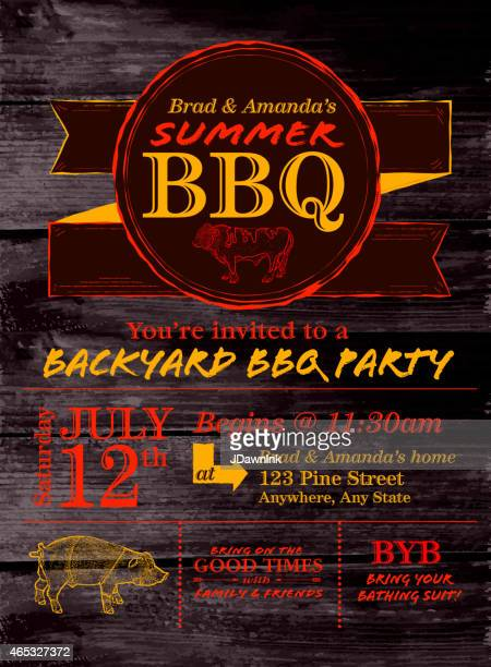 Red and yellow country BBQ design template on wood background