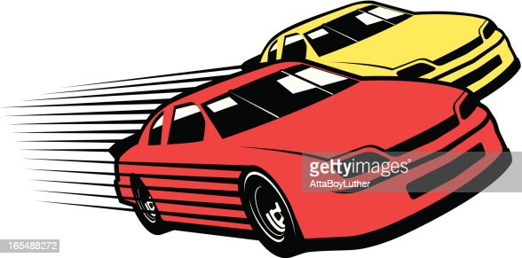 Red And Yellow Race Cars Cartoon Vector Art Getty Images