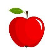 Red apple with leaf - vector illustration