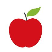 Red apple simple icon. Vector illustration