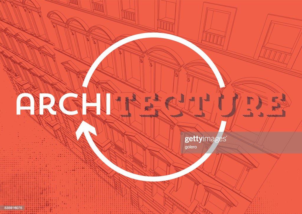 Arquitetura de fundo vermelho com linear arquitetura perspectiva : Arte vetorial