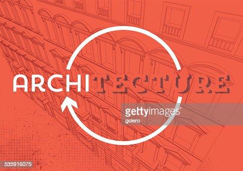 Rojo arquitectura fondo con lineal arquitectura perspectiva : Arte vectorial