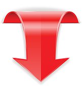 Red arrow.  Down sign. Vector illustration isolated on white background