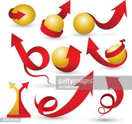 Red arrows set with cold sphere. : Vektorgrafik