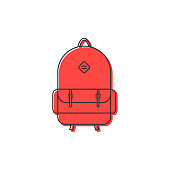 red backpack thin line icon. concept of camping recreation, route, haversack, kids schoolbag, touring. isolated on white background. flat style trend modern design vector illustration