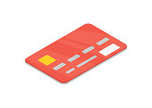 Red bank credit card isometric 3D icon. Online payment symbol, cash withdrawal, financial operations vector illustration isolated on white background