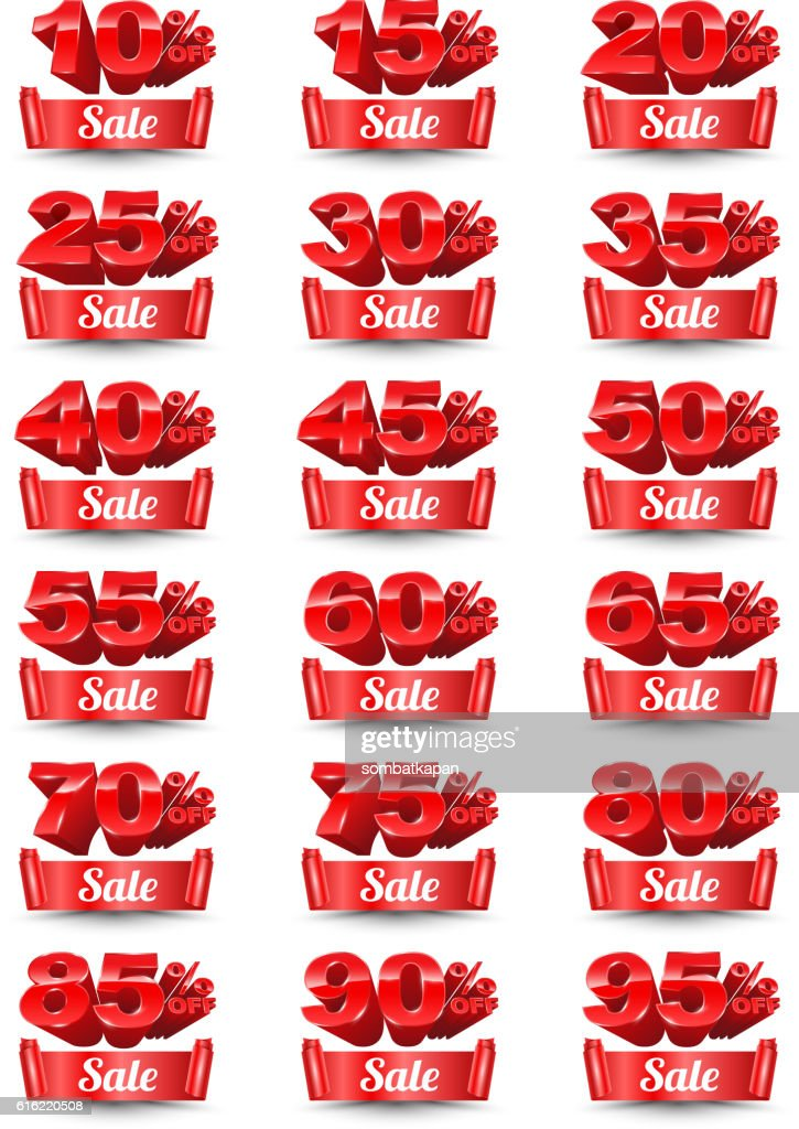 Red banner sale percentage set 3D style. : Vectorkunst