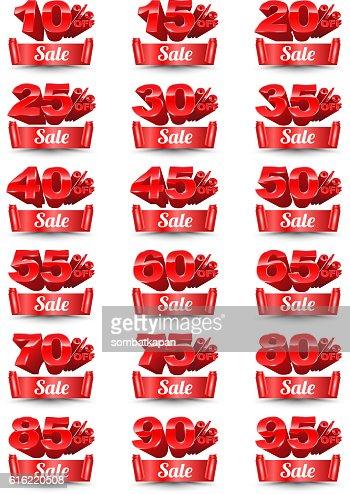 Red banner sale percentage set 3D style. : Vector Art