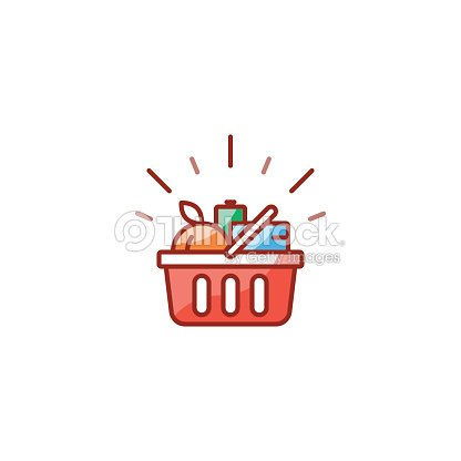 Red basket with grocery products, promotion deal, shopping food line icon : stock vector