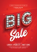 Red big sale poster or flyer design. Retro light signboard banner with glowing bulbs. Vector Illustration