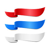 Set of colored decorative ribbons. Red, blue, white banners, vector illustration