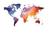 red blue geometric world map