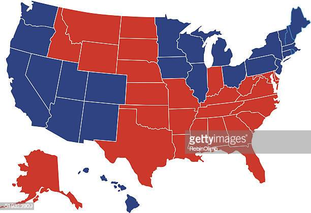USA Red Blue Map All Fifty States