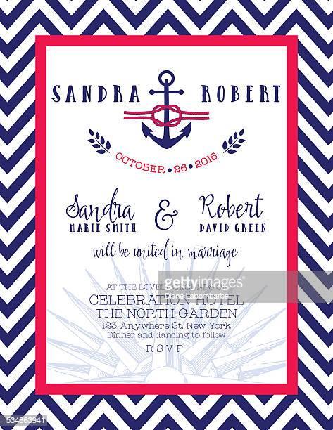 Rojo y azul náutico de invitación de boda