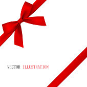 Red bow with diagonally ribbon on the corner. Vector.
