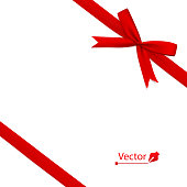Red bow with diagonally ribbon on the corner. Vector tie.