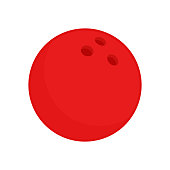 Red bowling ball. Vector icon isolated on white background. Flat vector illustration.