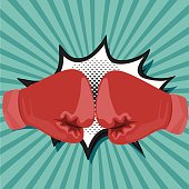 Red boxing gloves , Comic Speech Bubble