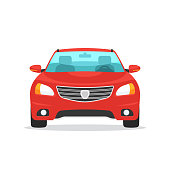 Red car symbol. Front view automobile. Vector illustration in trendy flat style design isolated on white background