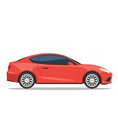 Red car. Side view vector illustration in trendy flat style, isolated on white background