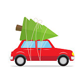 Red car with a christmas tree on the roof. Christmas card. Vector illustration