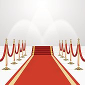 Red carpet on stairs. Empty white illuminated podium. Blank template illustration with space for an object, person, , text. Presentation, gala, ceremony, awards concept.