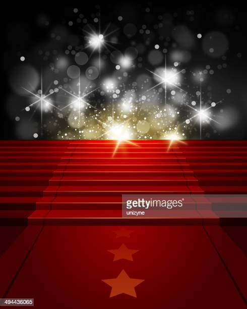 Red Carpet on Steps with Paparazzi Flashes