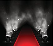 Red carpet with spotlights. Illustration contains transparency and blending effects, eps 10