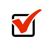 Red checkmark in box. Vector illustration