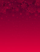 Red christmas background with snowflakes and stars, vector illustration