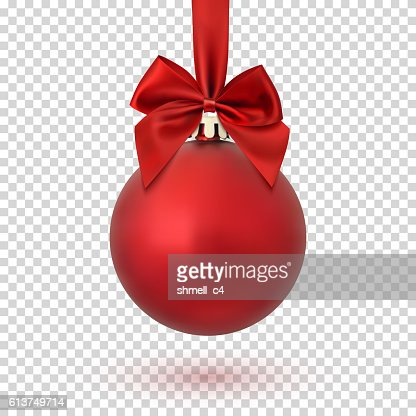 Red Christmas ball on transparent background. : Arte vetorial