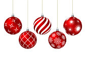 Red christmas balls with different patterns on white. Vector illustration.